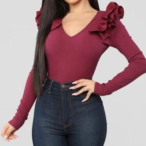 Ruflle Shoulders Burgundy Bodysuit